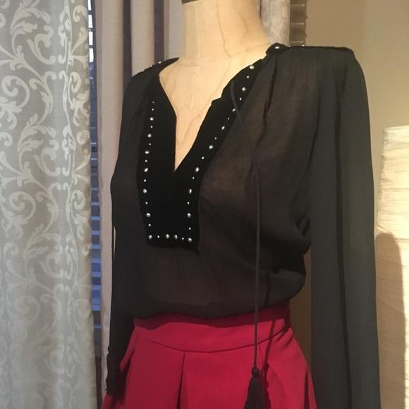 89856d819a NWT Zara Black Chiffon Velvet Stud Blouse XS